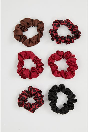 NYLA-ROSE LEOPARD 6 PACK SCRUNCHIES
