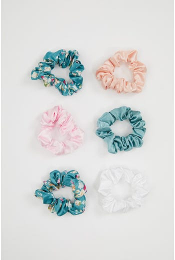 NYLA-ROSE FLORAL 6 PACK SCRUNCHIES
