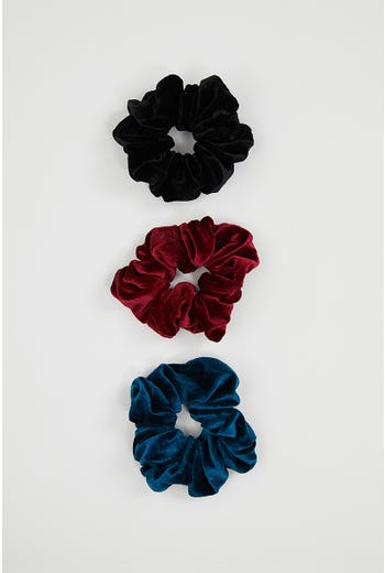 NYLA-ROSE VELVET 3 PACK SCRUNCHIES