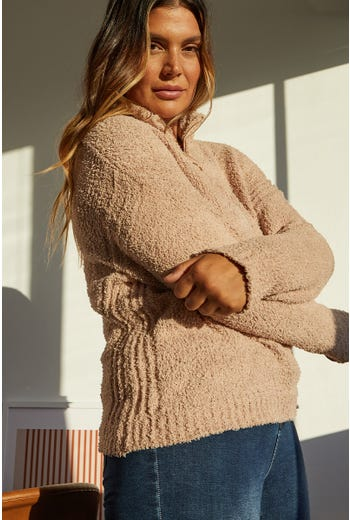 Plus Zip Up High Neck Knit Pullover Sweater