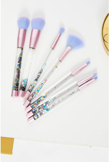 7 Piece Glitter Brush Set With Case
