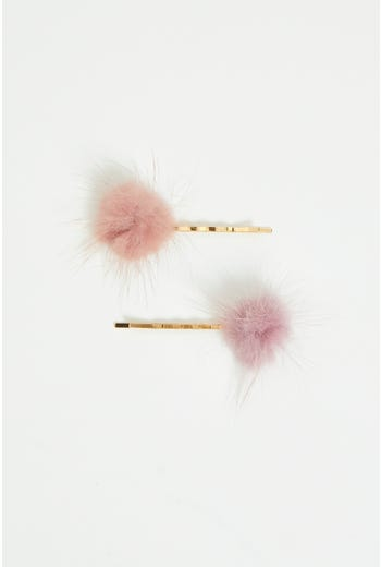 Plus Feather Pom Pom Hair Clip