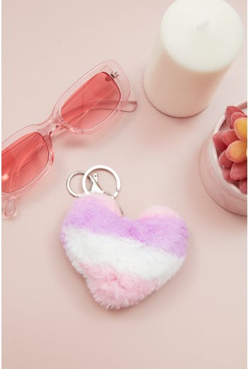 Plus Stripe Faux Fur Heart Pom Pom Keyring