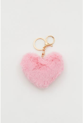 Plus Faux Fur Heart Pom Pom Keyring