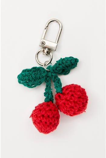 Knitted Cherry Keyring