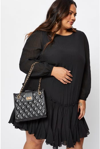 Plus Quilted Chain Handle Tote Bag