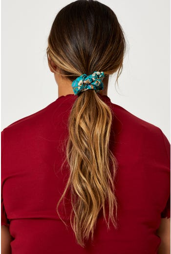 Boho Floral Print Sustainable Scrunchie