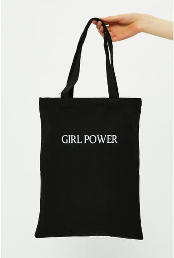 Plus Girl Power Slogan Tote Bag