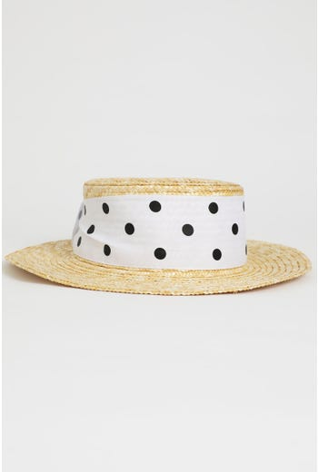 Straw With Dot Print Tie Boater Hat