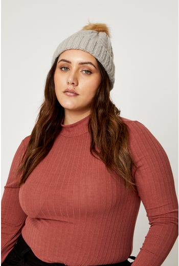 Plus Faux Fur Pom Pom Cable Detail Beanie