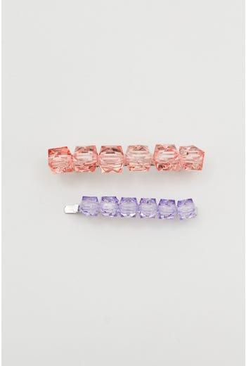 Plus 2 Pack Beaded Hair Clips