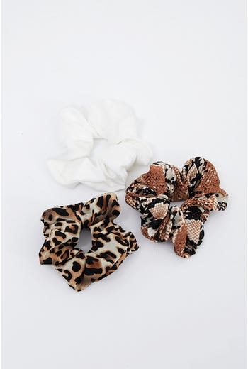 NYLA ROSE LEOPARD PRINT 3 PACK SCRUNCHIES