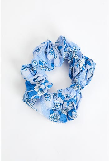 Plus Floral Boho Print Sustainable Scrunchie