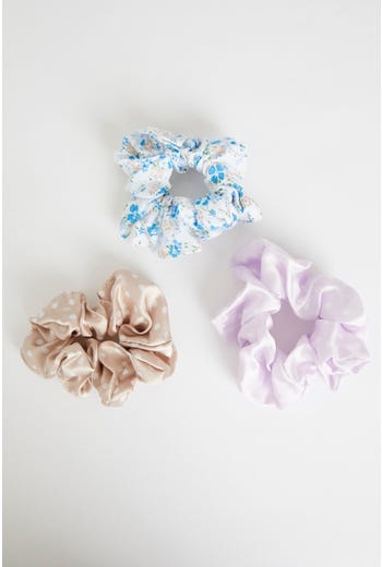 Plus 3 Piece Floral And Polka Dot Scrunchies Set