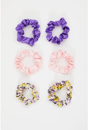 Plus Satin 6 pack Scrunchies