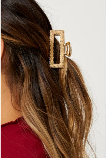 Gold Hammered Metal Claw Hair Clip