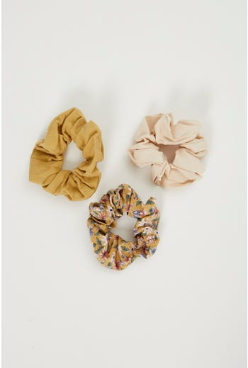 Plus Floral And Cord 3 pack  Scrunchies