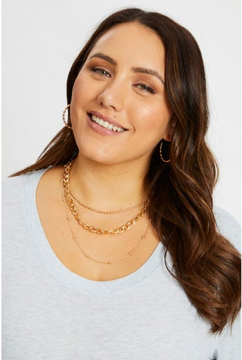 3 Pack Mismatch Chain And Metal Ball Necklace Set