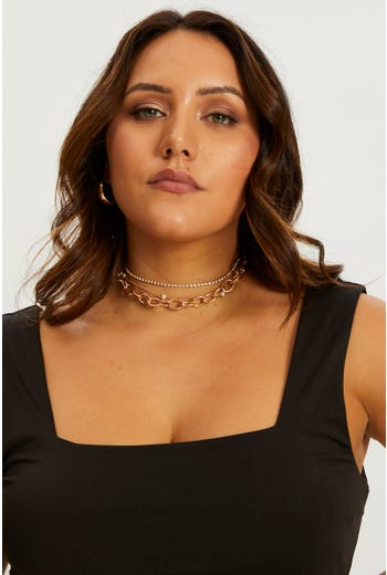 Multi 3 Row Chain Necklace