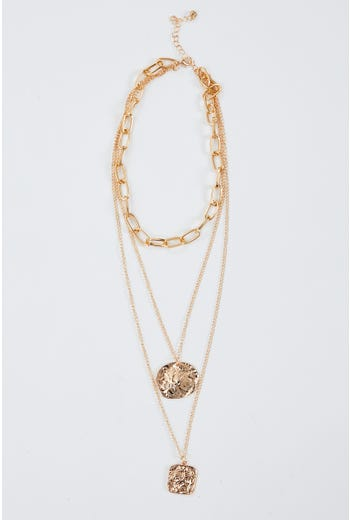 Plus Chain Coin Layered Necklace Set