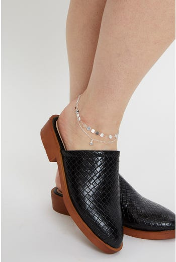 2 Row Disc And Charm Anklet