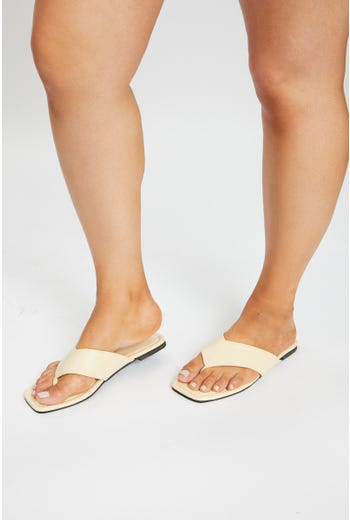 Faux Leather Flat Sandal