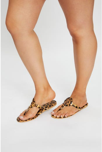 Animal Print Cut Out Flat Sandal