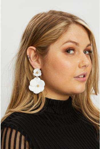 Plus Flower Drop Earring