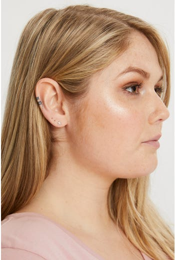 Sterling Sliver Star And Moon Stud Earring