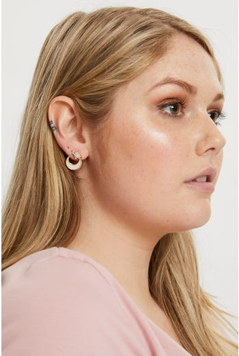 Star And Moon Stud Earring