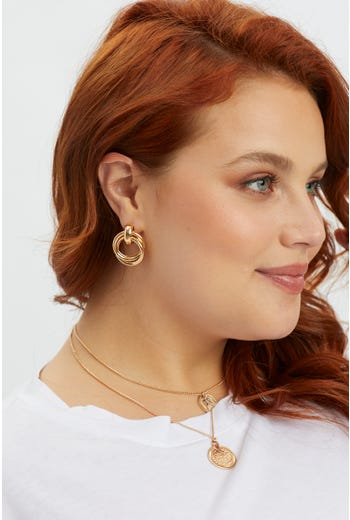 Plus Round Stud Earring