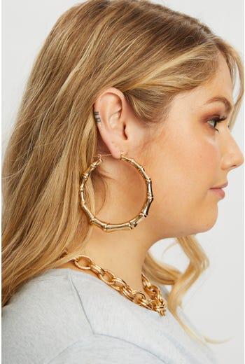 Gold Bamboo Hoop Earrings