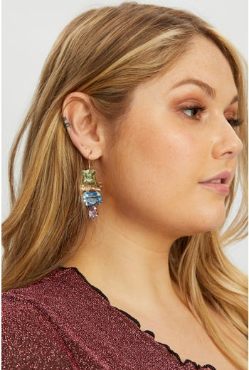 Plus Multi Stone Drop Earring