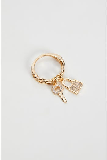 Zirconia Lock Charm Chain Ring