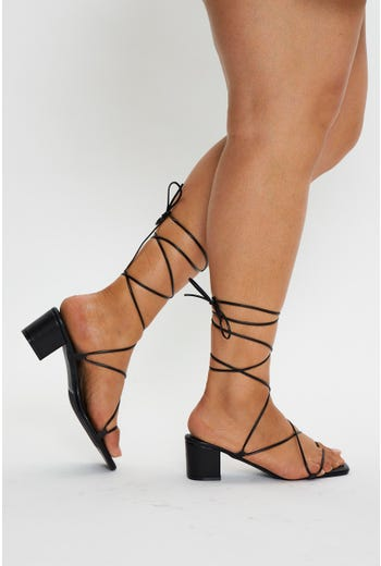 Tie Up Mid Block Heels