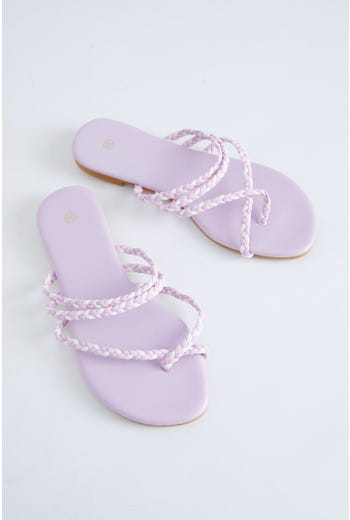 Braid Cross Strap Flat Sliders