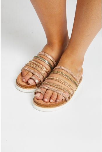 Diamante Multi Strap Flat Sliders