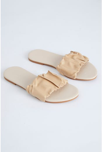 Ruched Top Flat Sliders
