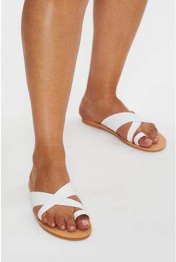 White Strappy Slides
