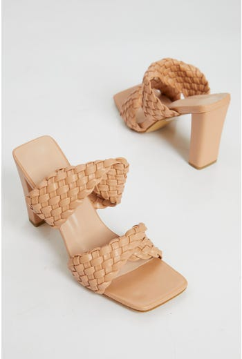 Woven Square Toe Heels