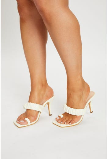 Ruched Square Toe Heel