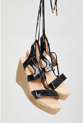 Woven Strappy Wedges