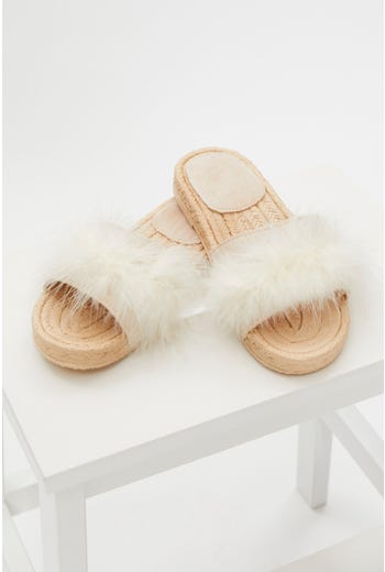 Faux Fur Fluffy Flat Slides