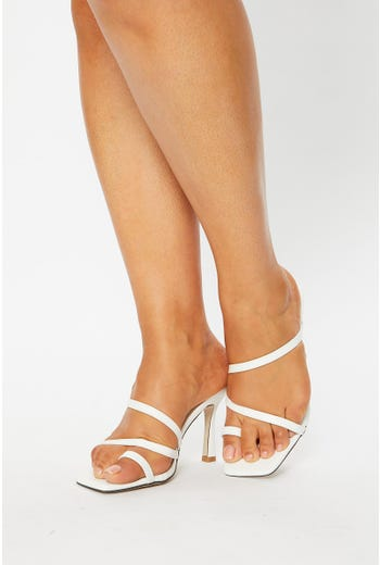 Strappy Faux Leather Heels