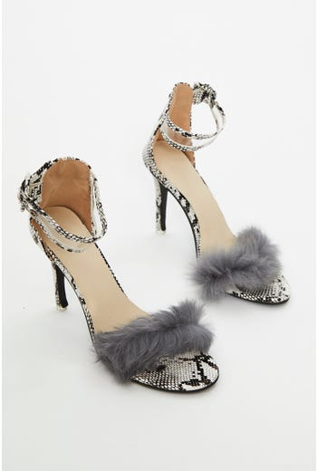 Animal Print Faux Fur Fluffy Heels