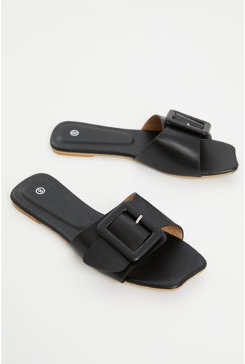 Buckle Detail Flat Slides