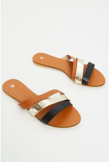 Multi Colour Strap Flat Slides