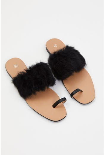 Faux Fur Flat Slides