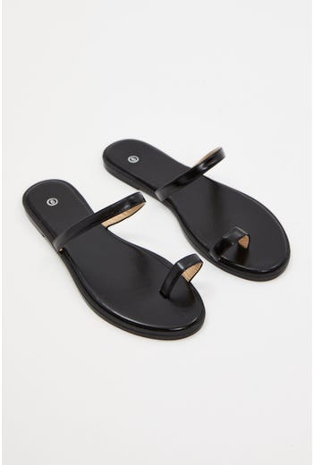 Faux Leather Minimal Flat Slides