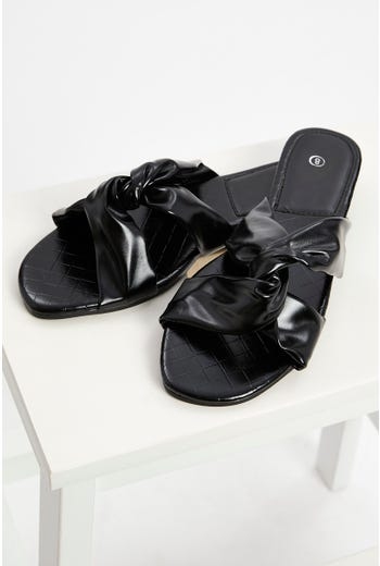 Woven Faux Leather Flat Slides